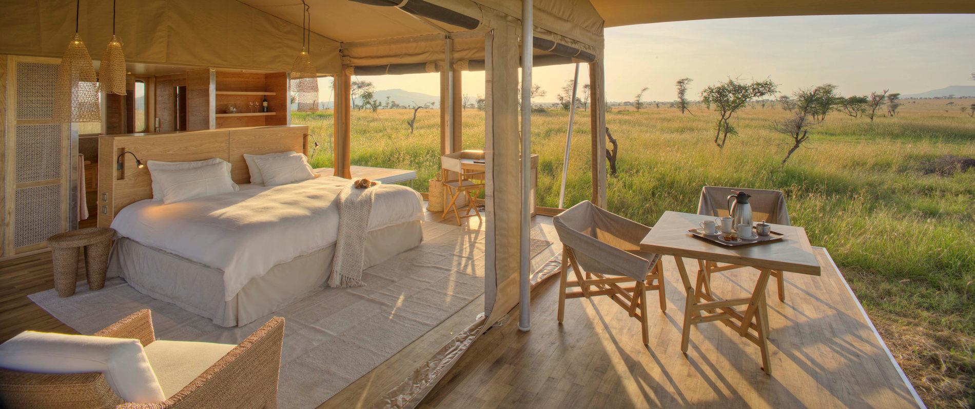 Schlafzimmer, Roving Bushtops Serengeti, Tansania